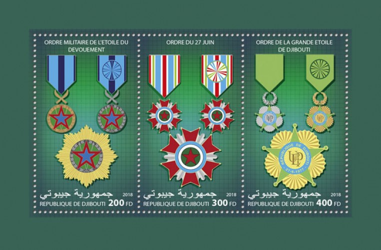 Djibouti medals (Order of the Star of Devotion; National Order of June 27; Order of the Great Star of Djibouti) (locals) | Stamps of DJIBOUTI