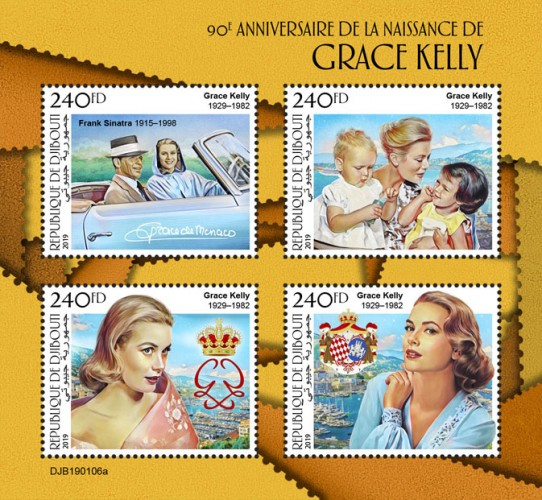 90th anniversary of Grace Kelly (Grace Kelly (1929–1982), Frank Sinatra 1915–1998)) | Stamps of DJIBOUTI