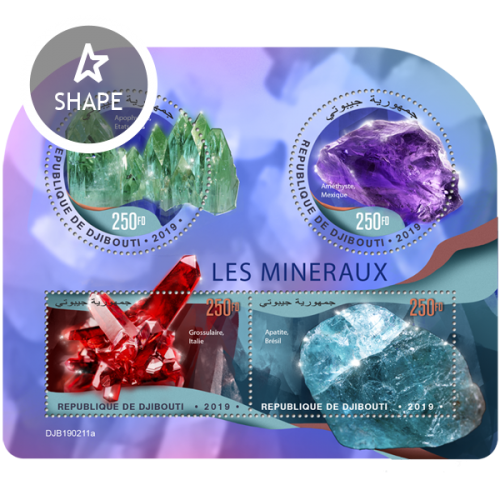 Minerals (Apophyllite, United States; Amethyst, Mexico; Grossular, Italy; Apatite, Brazil) | Stamps of DJIBOUTI