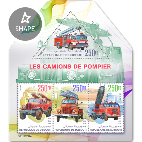 Fire engines (Ford C series; ZIL-157; GAZ-51; IFA W 50) | Stamps of DJIBOUTI