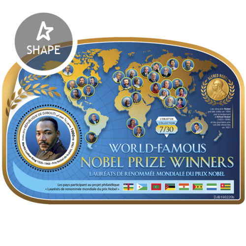 Nobel Prize Winners (Martin Luther King (1929–1968), Nobel Peace Prize, 1964 | Stamps of DJIBOUTI