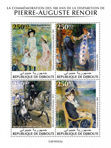 "100th  memorial anniversary of Pierre-Auguste Renoir (Pierre-Auguste Renoir (1841–1919) ""Children on the Seashore, Guernsey"" (detail), 1883; ""The Swing"", 1876; ""Riding in the bois de Boulogne"", 1873; ""By the Seashore"", 1883) 