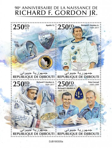 90th anniversary of Richard F. Gordon Jr. (Apollo 12; Richard F. Gordon Jr. (1929–2017), Gemini 11; Alan Bean (1932–2018)) | Stamps of DJIBOUTI