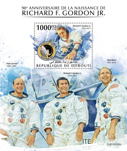 90th anniversary of Richard F. Gordon Jr. (Richard F. Gordon Jr. (1929–2017) Background info: Pete Conrad (1930–1999), Alan Bean (1932–2018) | Stamps of DJIBOUTI