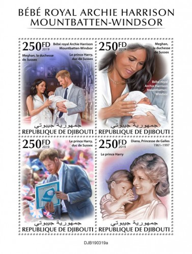Royal baby (Royal baby Archie Harrison Mountbatten-Windsor, Meghan, Duchess of Sussex, Prince Harry, Duke de Sussex; Diana, Princess of Wales (1961–1997) | Stamps of DJIBOUTI