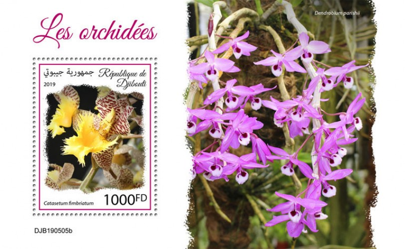 Orchids (Catasetum fimbriatum) Background info: Dendrobium parishii | Stamps of DJIBOUTI