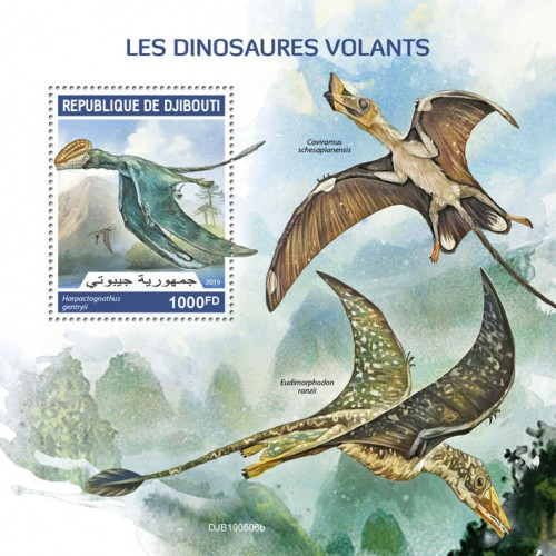 Flying dinosaurs (Harpactognathus gentryii) Background info: Caviramus schesaplanensis, Eudimorphodon ranzii | Stamps of DJIBOUTI