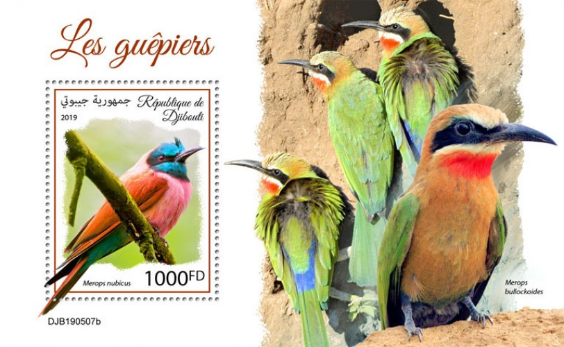 Bee-eaters (Merops nubicus) Background info: Merops bullockoides | Stamps of DJIBOUTI
