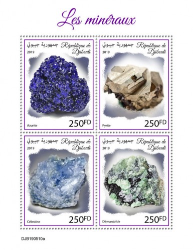 Minerals (Azurite; Pyrite; Celestine; Demantoid) | Stamps of DJIBOUTI