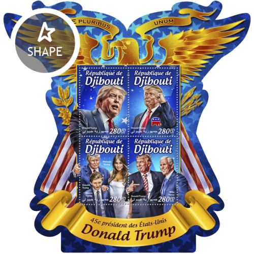 45th president of the United States Donald Trump (Donald Trump, Mike Pence; Barron Trump, Melania Trump) | Stamps of DJIBOUTI